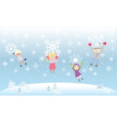 Kids Children Playiong Snow flakes Snowflakes vector