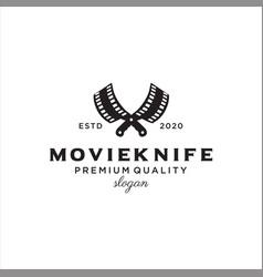 knife movie reel logo cinematography film vector image