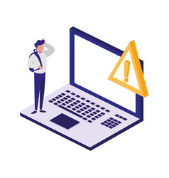 laptop computer with alert symbol vector image