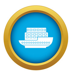 large passenger ship icon blue isolated vector image