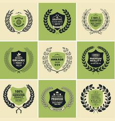 Laurel wreath badges templates vector