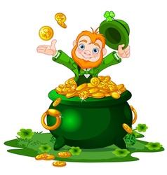 Leprechaun and pot gold vector
