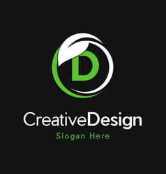 Letter d circle leaf creative business logo vector