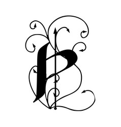 letter p with arrows vector image