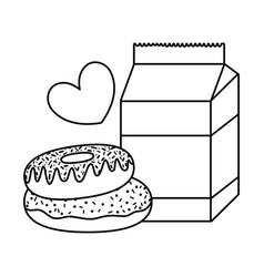 Line milk box with sweet donuts and heart vector
