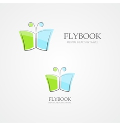 Logo combination of a book and butterfly vector image