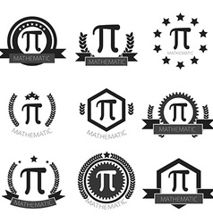 Mathematic Pi logo set Mathematic Pi icons set vector image vector image