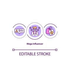 Mega influencer concept icon vector