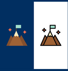 Mountain flag user interface icons flat and line vector