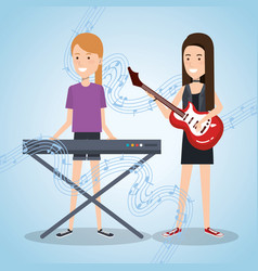 music festival live with women playing piano and vector image