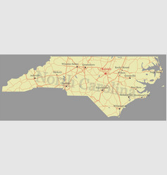 North carolina accurate high detailed state map vector