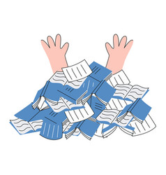 overworked person under pile of papers documents vector image