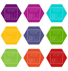 parking plan icons set 9 vector image