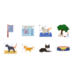 pet icons in set collection for design care and vector image