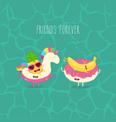 pineapple and banana on rubber rings summer time vector image