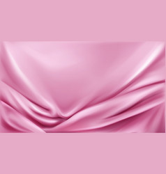 Pink silk folded fabric background luxurious cloth vector