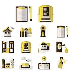 rental property flat color icons vector image