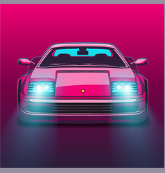 Retro sports car 80s eighties neon glow vector