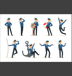 sailor character doing his job set seaman in vector image