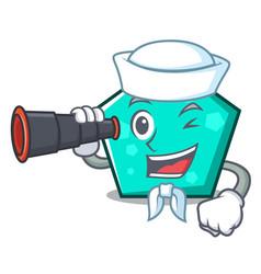 sailor with binocular pentagon mascot cartoon vector image