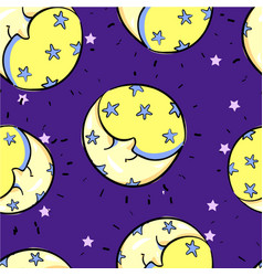 seamless moon with smile sleeping pattern childish vector image