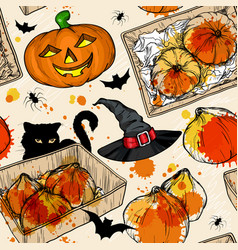 seamless pattern with halloween set vector image