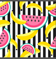 seamless pattern with sweet bananas and watermelon vector image