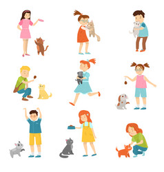 set children with funny cute pets vector image