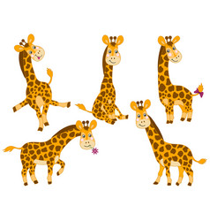Set cute cartoon giraffes vector