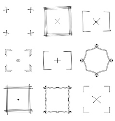 Set of nine square black doodle frames vector