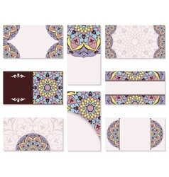 Set of ornamental business cards vector