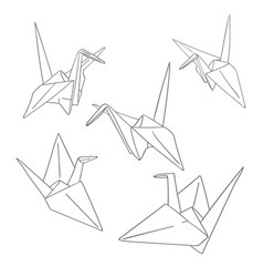 Set Of Outline Paper Origami Birds Isolated On Vector Image