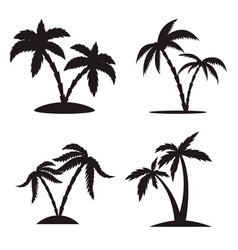 set silhouettes palm trees isolated on vector image