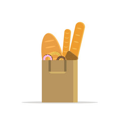 shopping bag with bread donut and bagel vector image