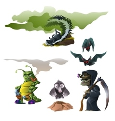 Skunk bat witch insect and mole for Halloween vector