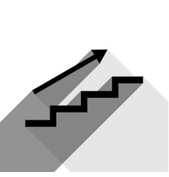 stair with arrow black icon with two flat vector image vector image