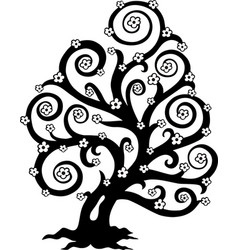 stylized tree in bloom silhouette vector image