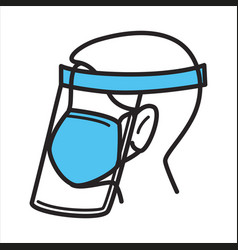 surgical mask and facial shield for protection vector image