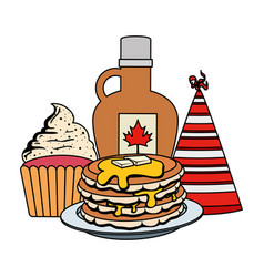 Sweet maple syrup bottle with pancake and cupcake vector
