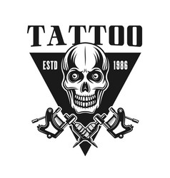 Tattoo studio emblem with skull vector