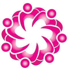 Teamwork lotus flower shape logo vector