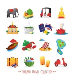 Thailand Travel Flat Icons Collection vector image