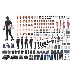 Thief or burglar constructor set bundle flat vector