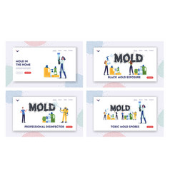 toxic mold spores landing page template set pest vector image