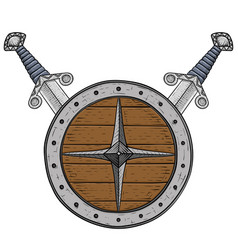 Viking round shield with swords colored hand vector