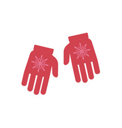 winter knitted gloves with vector image