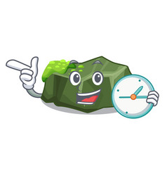 With clock cartoon moss grow on sea rock vector