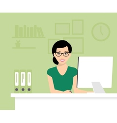 Woman with computer vector