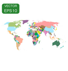 World map colorful political icon business vector