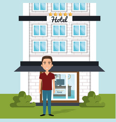 Young man outside hotel character scene vector